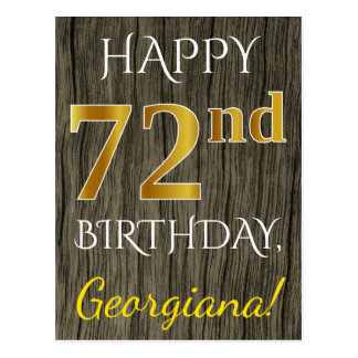 Faux Wood, Faux Gold 72nd Birthday + Custom Name Postcard