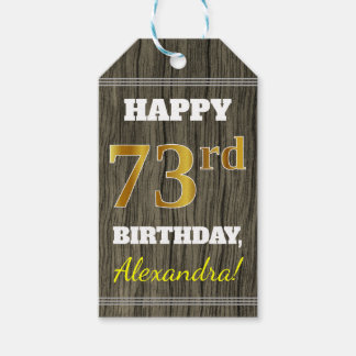 Faux Wood, Faux Gold 73rd Birthday + Custom Name Gift Tags