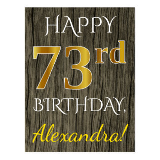 Faux Wood, Faux Gold 73rd Birthday + Custom Name Postcard