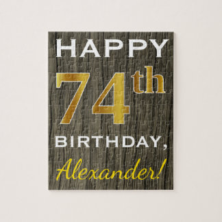 Faux Wood, Faux Gold 74th Birthday + Custom Name Jigsaw Puzzle