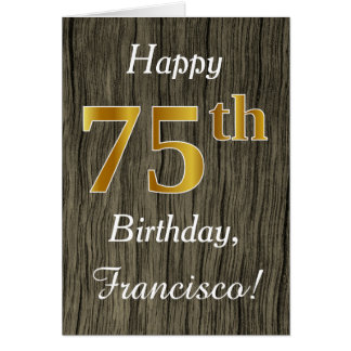 Faux Wood, Faux Gold 75th Birthday + Custom Name Card
