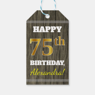 Faux Wood, Faux Gold 75th Birthday + Custom Name Gift Tags