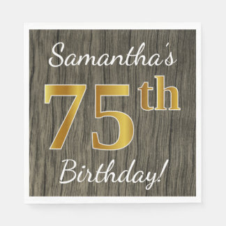 Faux Wood, Faux Gold 75th Birthday + Custom Name Paper Napkins
