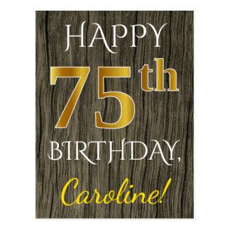 Faux Wood, Faux Gold 75th Birthday + Custom Name Postcard