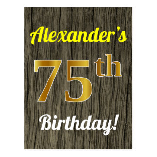 Faux Wood, Faux Gold 75th Birthday & Custom Name Postcard