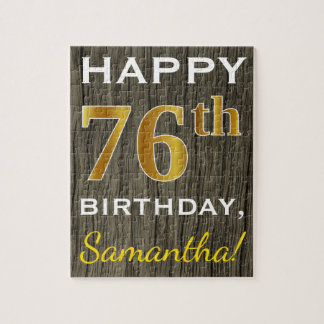 Faux Wood, Faux Gold 76th Birthday + Custom Name Jigsaw Puzzle