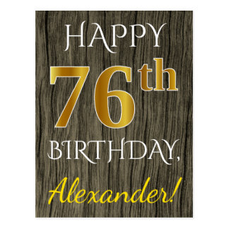 Faux Wood, Faux Gold 76th Birthday + Custom Name Postcard