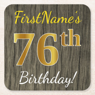 Faux Wood, Faux Gold 76th Birthday + Custom Name Square Paper Coaster