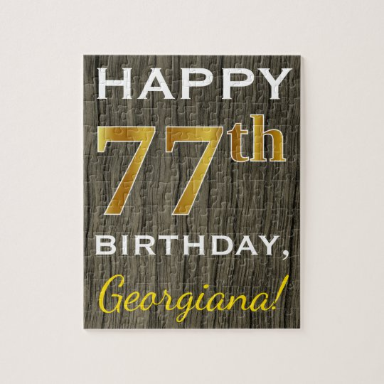 Faux Wood, Faux Gold 77th Birthday + Custom Name Jigsaw Puzzle