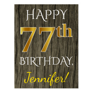 Faux Wood, Faux Gold 77th Birthday + Custom Name Postcard