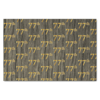 Faux Wood, Faux Gold 77th (Seventy-Seventh) Event Tissue Paper