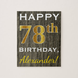 Faux Wood, Faux Gold 78th Birthday + Custom Name Jigsaw Puzzle