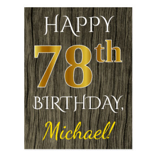 Faux Wood, Faux Gold 78th Birthday + Custom Name Postcard