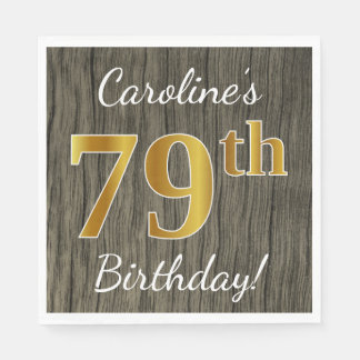 Faux Wood, Faux Gold 79th Birthday + Custom Name Paper Napkin