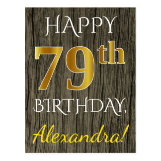 Faux Wood, Faux Gold 79th Birthday + Custom Name Postcard