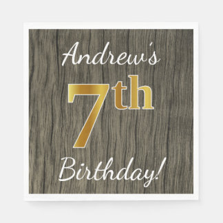 Faux Wood, Faux Gold 7th Birthday + Custom Name Disposable Napkins