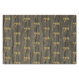 Faux Wood, Faux Gold 7th (Seventh) Event Tissue Paper