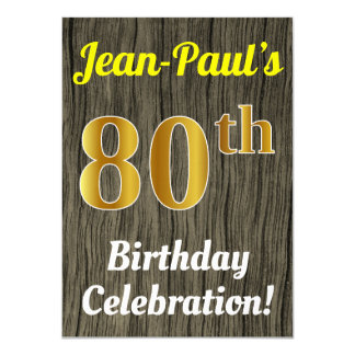 Faux Wood, Faux Gold 80th Birthday Celebration Card