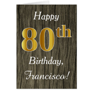 Faux Wood, Faux Gold 80th Birthday + Custom Name Card