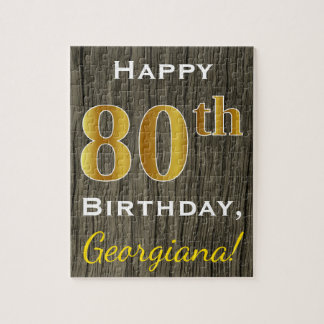 Faux Wood, Faux Gold 80th Birthday + Custom Name Jigsaw Puzzle