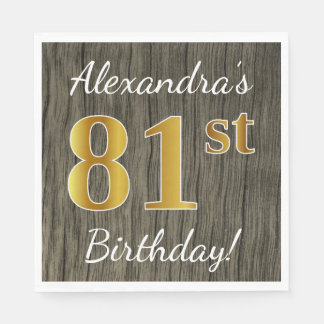 Faux Wood, Faux Gold 81st Birthday + Custom Name Paper Napkin