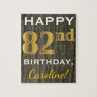 Faux Wood, Faux Gold 82nd Birthday + Custom Name Jigsaw Puzzle