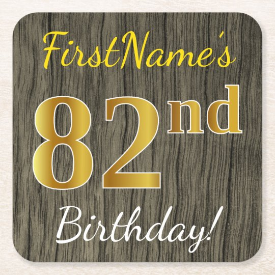 Faux Wood, Faux Gold 82nd Birthday + Custom Name Square Paper Coaster