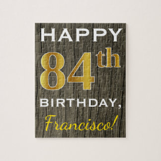 Faux Wood, Faux Gold 84th Birthday + Custom Name Jigsaw Puzzle