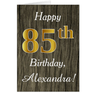 Faux Wood, Faux Gold 85th Birthday + Custom Name Card