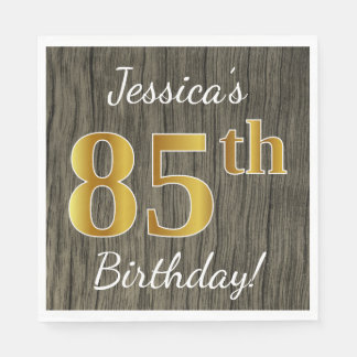 Faux Wood, Faux Gold 85th Birthday + Custom Name Disposable Napkin