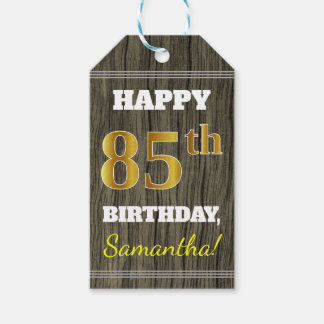 Faux Wood, Faux Gold 85th Birthday + Custom Name Gift Tags