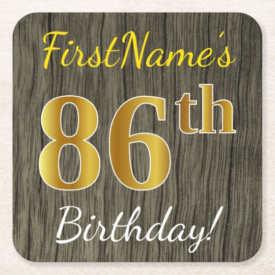 Faux Wood, Faux Gold 86th Birthday + Custom Name Square Paper Coaster