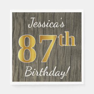 Faux Wood, Faux Gold 87th Birthday + Custom Name Paper Napkins