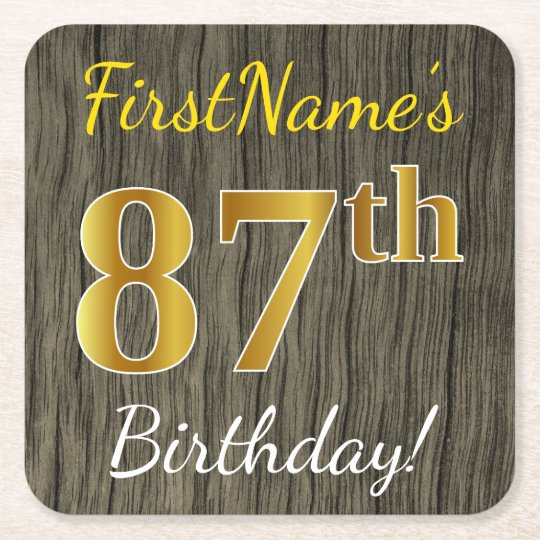 Faux Wood, Faux Gold 87th Birthday + Custom Name Square Paper Coaster