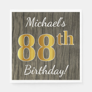 Faux Wood, Faux Gold 88th Birthday + Custom Name Paper Napkin