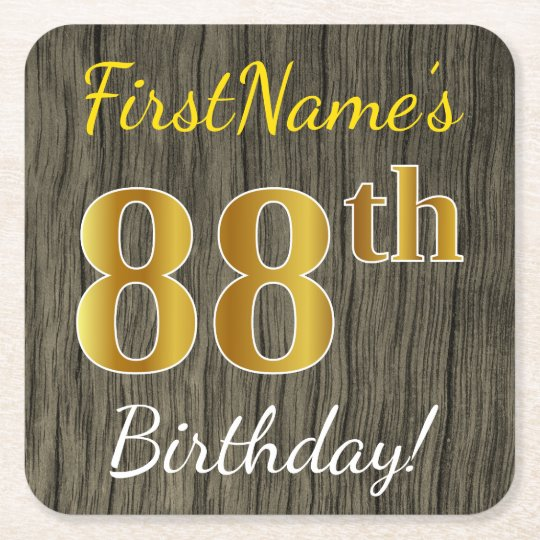 Faux Wood, Faux Gold 88th Birthday + Custom Name Square Paper Coaster