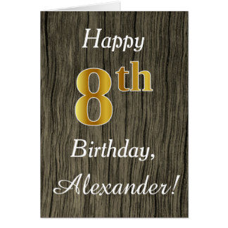 Faux Wood, Faux Gold 8th Birthday + Custom Name Card