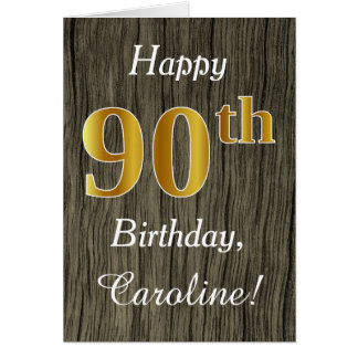 Faux Wood, Faux Gold 90th Birthday + Custom Name Card