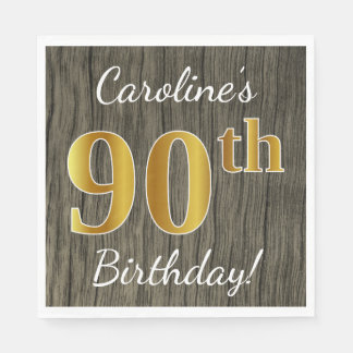 Faux Wood, Faux Gold 90th Birthday + Custom Name Disposable Napkin