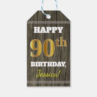 Faux Wood, Faux Gold 90th Birthday + Custom Name Gift Tags