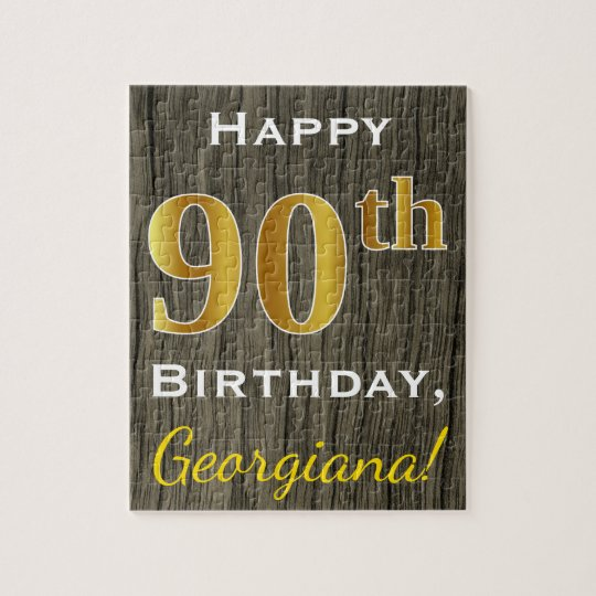 Faux Wood, Faux Gold 90th Birthday + Custom Name Jigsaw Puzzle