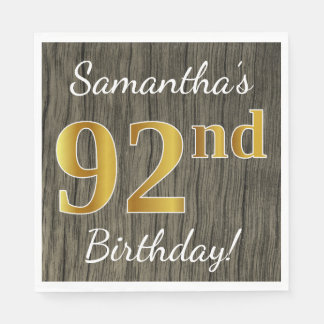 Faux Wood, Faux Gold 92nd Birthday + Custom Name Disposable Napkins