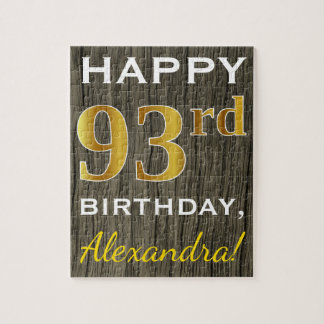 Faux Wood, Faux Gold 93rd Birthday + Custom Name Jigsaw Puzzle
