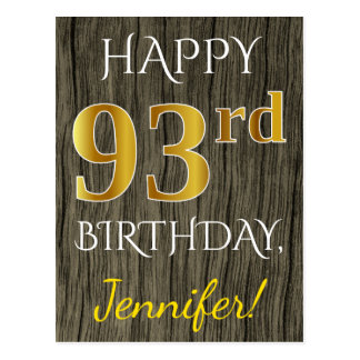 Faux Wood, Faux Gold 93rd Birthday + Custom Name Postcard