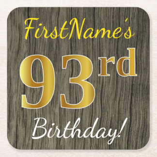 Faux Wood, Faux Gold 93rd Birthday + Custom Name Square Paper Coaster