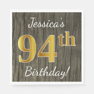 Faux Wood, Faux Gold 94th Birthday + Custom Name Paper Napkin