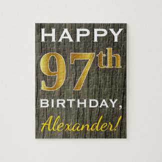 Faux Wood, Faux Gold 97th Birthday + Custom Name Jigsaw Puzzle