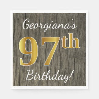Faux Wood, Faux Gold 97th Birthday + Custom Name Paper Napkins