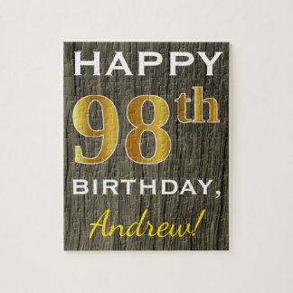 Faux Wood, Faux Gold 98th Birthday + Custom Name Jigsaw Puzzle