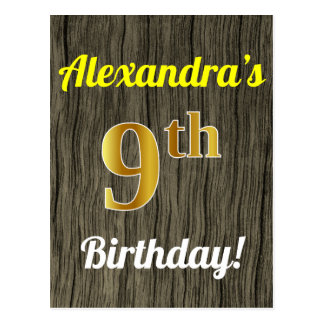 Faux Wood, Faux Gold 9th Birthday & Custom Name Postcard
